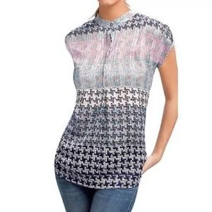 CAbi Astor Sleeve Loose Printed Tunic Blouse L